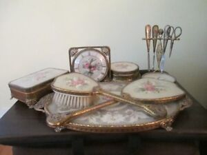Vintage needlepoint vanity set