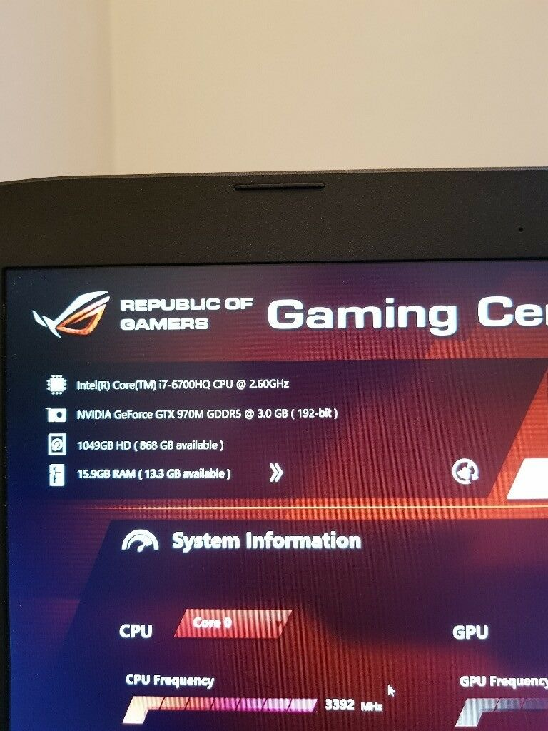 Gaming laptop asus i7-6700hq , 16 GB of Ram, gtx 970m