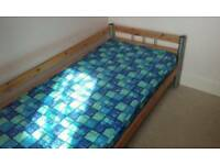 Small Child's Single Bed Pine with Mattress
