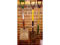 Shovel spade and fork.