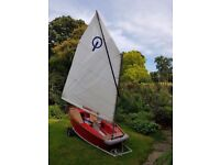Fibreglass Optimist (Oppi) Sailing Dinghy with Launching Trolley - Red and Grey with Wood Trim