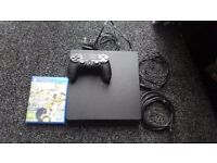 Playstation 4 console with 1 control pad and one game