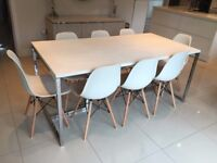 SIA Designer Kitchen Wood Metal Table + 8 Ivory Cream Charles Ray Eames Dining Chairs DSW RRP £1280