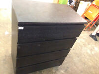 chest of drawer Ikea malm dark 4 drawers