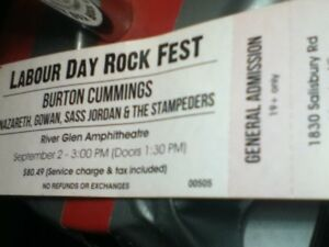 1 ticket for labour day rockfest moncton sept 2