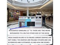 10ftx10ft High Visibility Shopping Mall Kiosk Retail Merchandising Unit with in-built 3 Samsung TV's