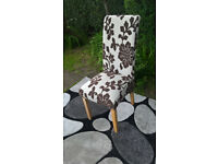 Ex-display Brown and White Floral Patterned Fabric Material and Oak Dining Chair.