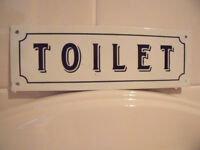 Retro/shabby chic/vintage-style black on white metal 'Toilet' sign/plaque.