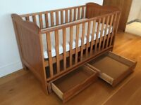 Beautiful Solid Pine Cot / Toddler Storage Bed and Coolmax Luxury Pocket Sprung Mattress