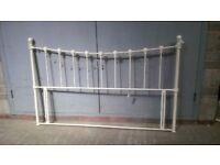 White metal kingsize bed head frame