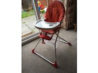 Red Mothercare Highchair. Great condition. Has basket underneath. £15