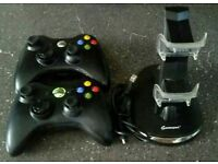 Original X box 360 controls complete with charging stand