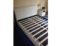 kingsize bedframe in white leather, collection from stockport.