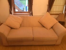 Sofas in cream with cusions 2 & 3 Seaters ***Need Gone ASAP Hence ONLY £50 For Both