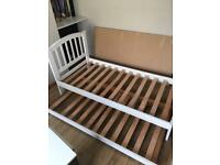 White wood single bed with space saver guest bed