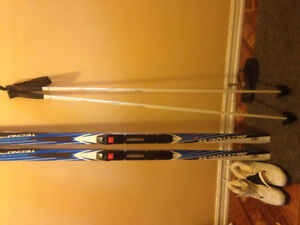 Skis poles boots