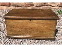 Lovely antique victorian pine blanket box/ chest