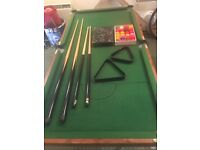 Snooker table with equipment
