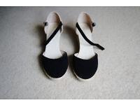 Ladies shoes - Monsoon black suede wedges - size 6