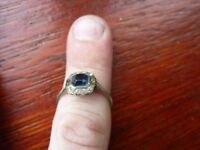 lovely old ? Vintage? Collectible wearable Silver Ring with blue stone (