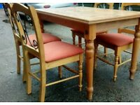 Beautiful solid wood table and 4 chairs.