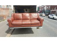 3 seater sofa in brown leather in very good condition £130