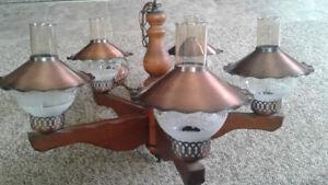 Vintage Wood Chandelier For Sale