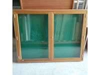 Nobo notice display case in oak
