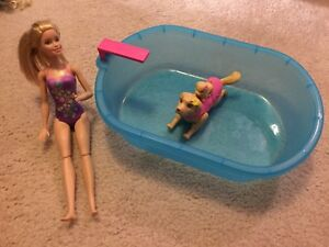 Barbie Doll with learn to swim dog