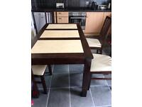 Solid wooden dining table with marble. 6 chairs