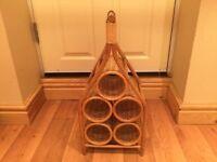 Vintage, retro wicker wine rack