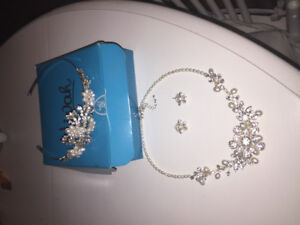 Vivah Freshwater Pearl Necklace, Tiara, and Earring set.