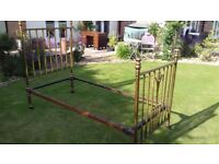 Fabulous original 1920's Art Nouveau brass and iron bedstead