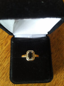 Ladies 10k Blue Sapphire and Diamond Ring