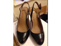 Carvela ladies slingback black patent shoes size 6