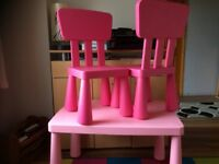 IKEA MAMMUT Pink Table & Chairs. Childrens Kids Bedroom Furniture