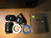 Nikkor 60mm f/2.8 G Micro lens with ring flash and UV filter