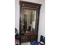 Wardrobe Large Antique 19 Century Hand Made Varnished 2 Door Storage Cupboard