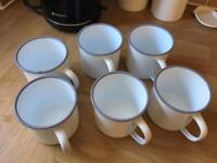 Set of six retro enamel mugs