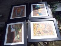 4 EGYPTIAN PICS ON PAPYRUS PAPER PROFESSIONALLY FRAMED 14 X 11 INCHES