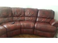 Brown leather cona recliner sofa