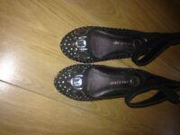 Girls black River Island shoes