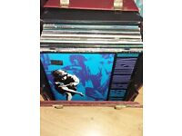 Box of rock records LPs vinyl