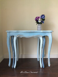 Vintage hand painted nesting tables