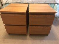 Ikea malm 2 drawer bedside cabinets x 2