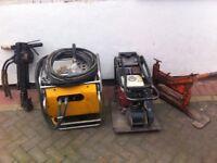 Jcb hydraulic braker, honda gx160 wacker plate, plaspave block cutter!