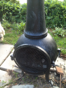 Wood Burning Chiminea Cast Iron Approx. 4 feet tall, Cover incl.
