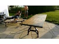 Industrial table vintage reclaimed brick board pine German