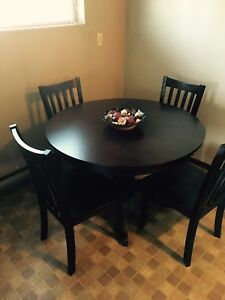 5pc dark wood table chair round dining set (pick up asap)