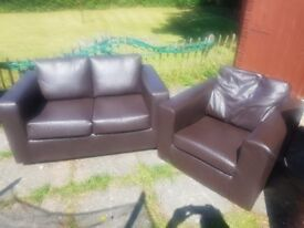 Dark Brown 2 Seater Sofa and Single Chair